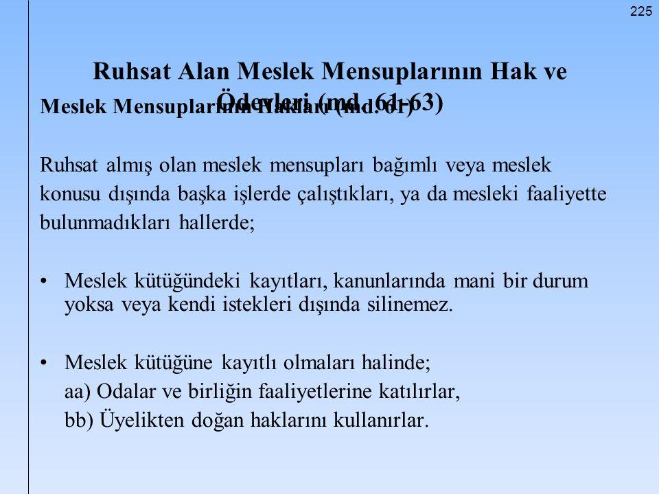 Ruhsat Alan Meslek Mensuplarının Hak ve Ödevleri (md. 61-63)