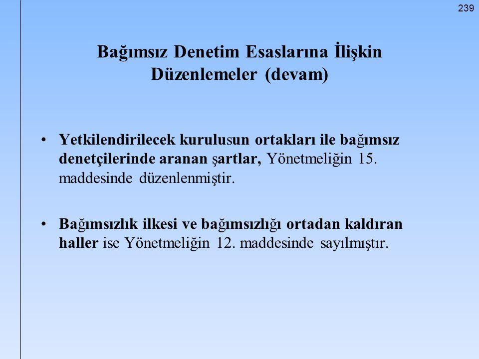Bağımsız Denetim Esaslarına İlişkin Düzenlemeler (devam)