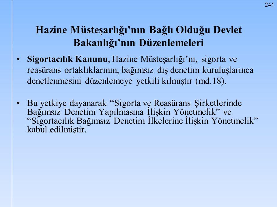 Hazine Müsteşarlığı'nın Bağlı Olduğu Devlet Bakanlığı'nın Düzenlemeleri