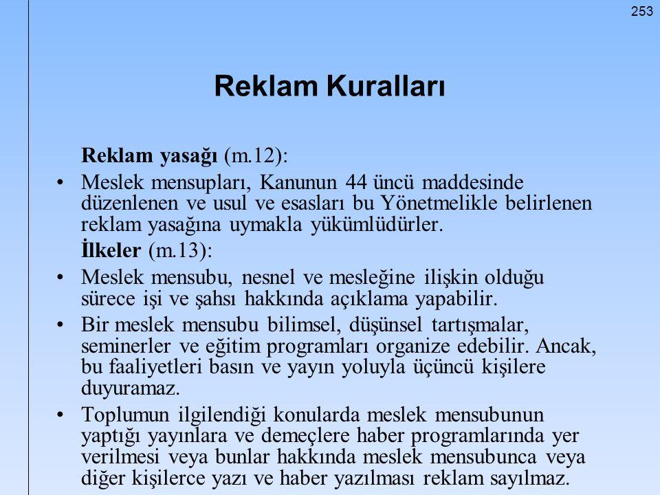 Reklam Kuralları Reklam yasağı (m.12):