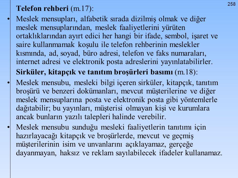 Telefon rehberi (m.17):