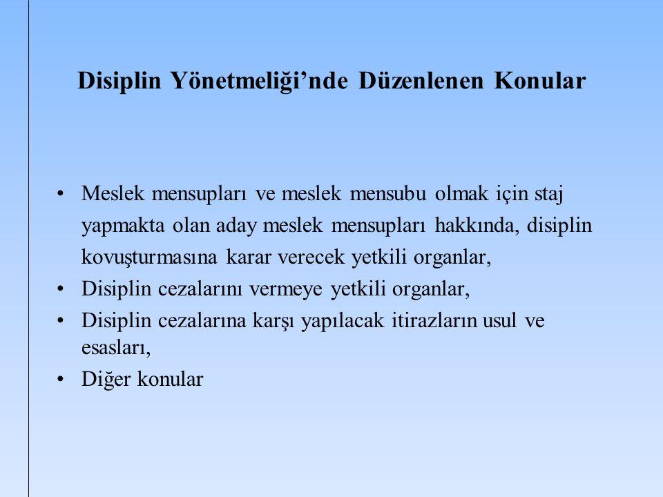 Disiplin Yönetmeliği'nde Düzenlenen Konular
