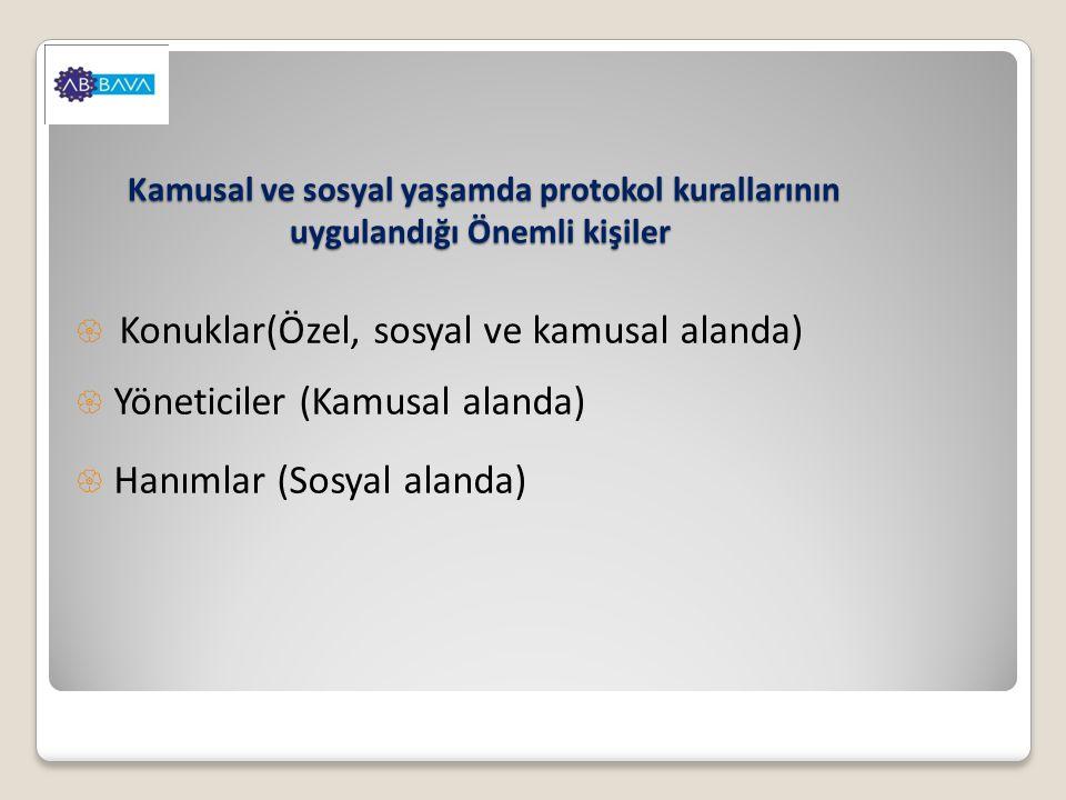Konuklar(Özel, sosyal ve kamusal alanda) Yöneticiler (Kamusal alanda)