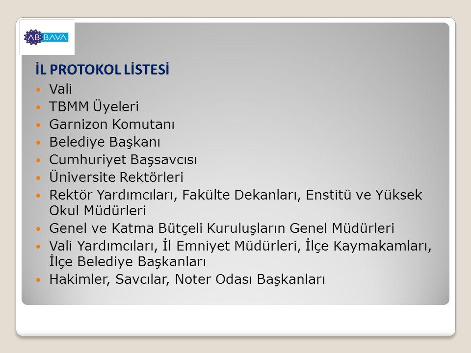 İL PROTOKOL LİSTESİ Vali TBMM Üyeleri Garnizon Komutanı