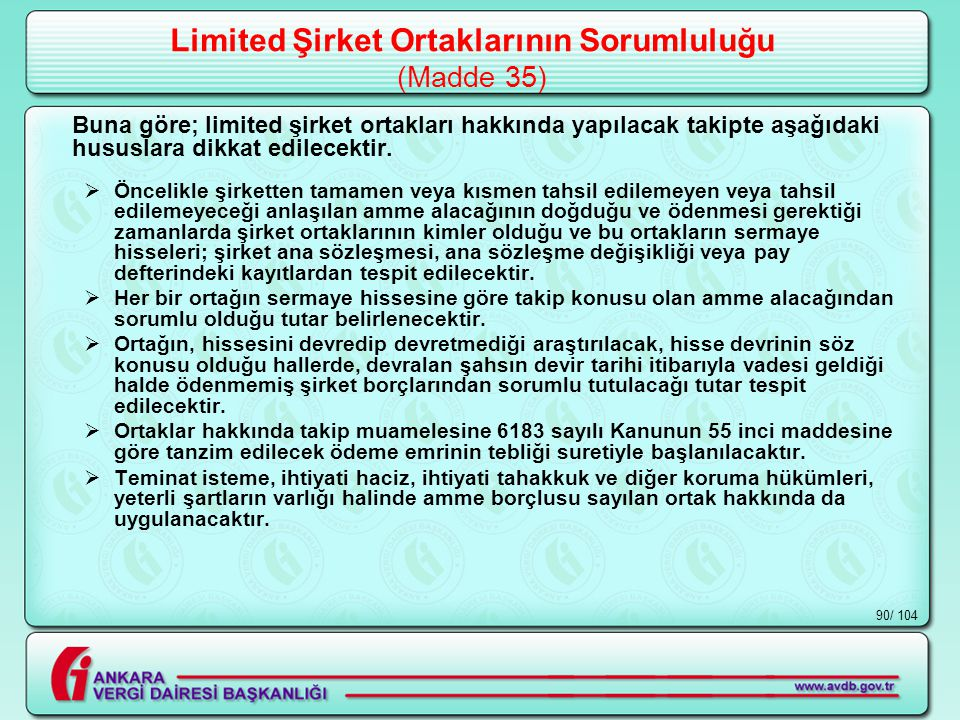Limited Şirket Ortaklarının Sorumluluğu (Madde 35)