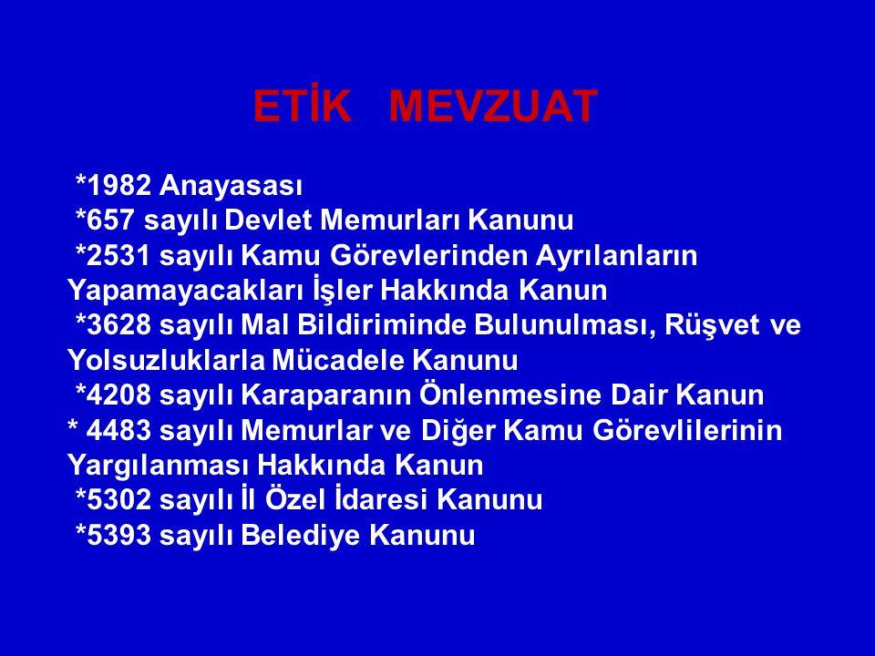 ETİK MEVZUAT. 1982 Anayasası. 657 sayılı Devlet Memurları Kanunu