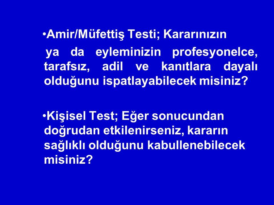 Amir/Müfettiş Testi; Kararınızın