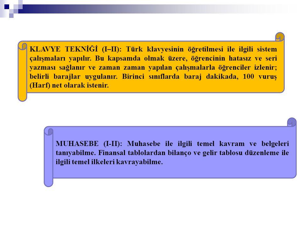 KLAVYE TEKNİĞİ (I–II): Türk klavyesinin öğretilmesi ile ilgili sistem çalışmaları yapılır. Bu kapsamda olmak üzere, öğrencinin hatasız ve seri yazması sağlanır ve zaman zaman yapılan çalışmalarla öğrenciler izlenir; belirli barajlar uygulanır. Birinci sınıflarda baraj dakikada, 100 vuruş (Harf) net olarak istenir.
