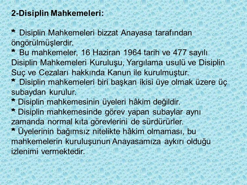 2-Disiplin Mahkemeleri: