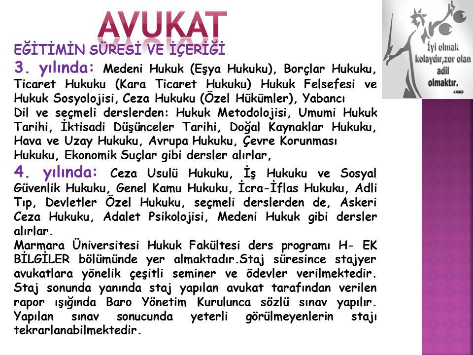 avukat EĞİTİMİN SÜRESİ VE İÇERİĞİ.