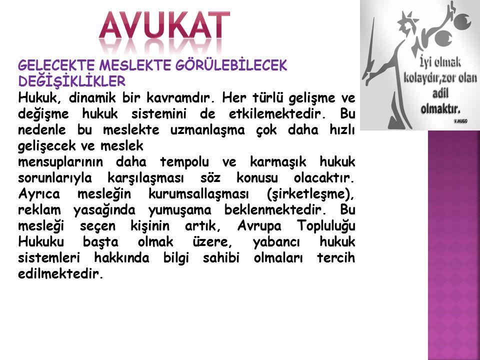 avukat GELECEKTE MESLEKTE GÖRÜLEBİLECEK DEĞİŞİKLİKLER