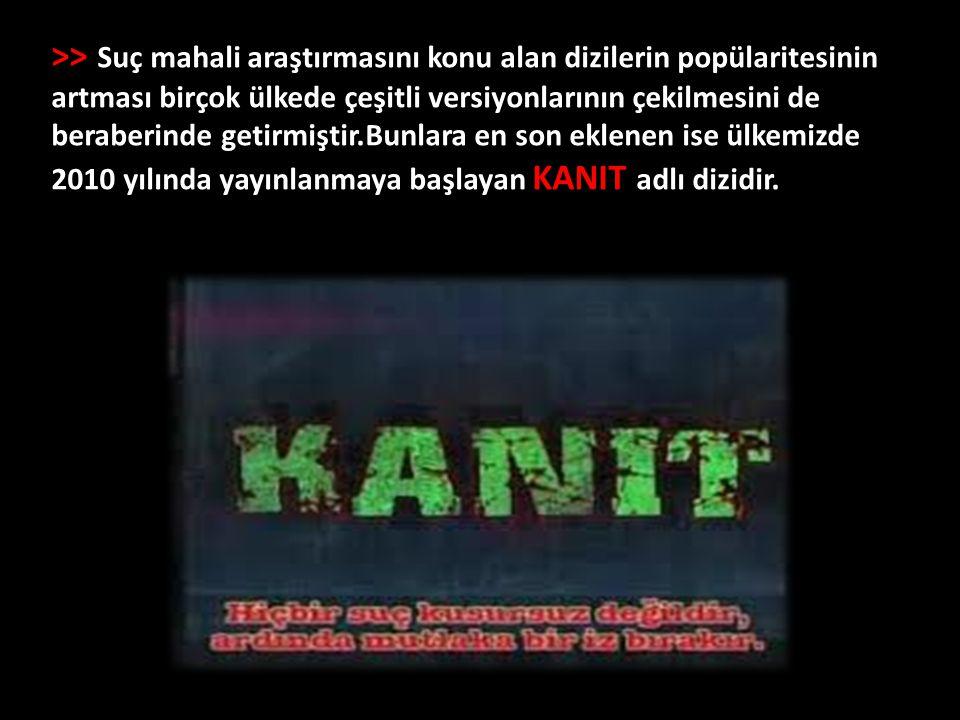 >> Suç mahali araştırmasını konu alan dizilerin popülaritesinin artması birçok ülkede çeşitli versiyonlarının çekilmesini de beraberinde getirmiştir.Bunlara en son eklenen ise ülkemizde 2010 yılında yayınlanmaya başlayan KANIT adlı dizidir.