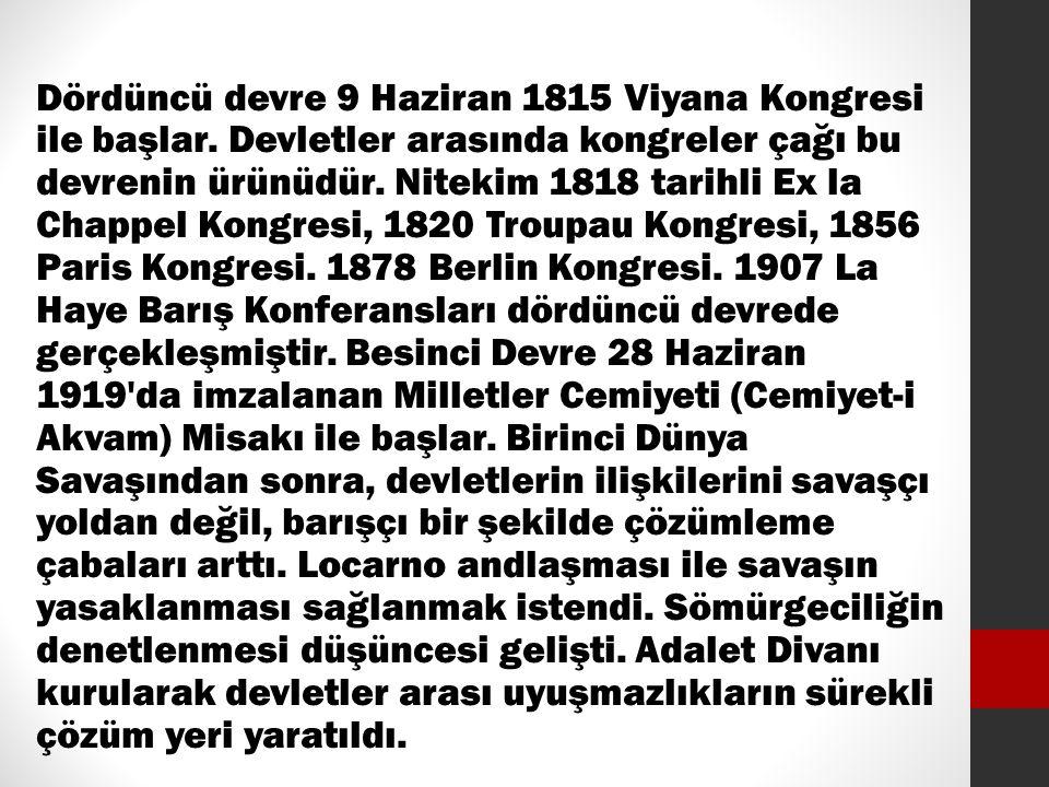 Dördüncü devre 9 Haziran 1815 Viyana Kongresi ile başlar