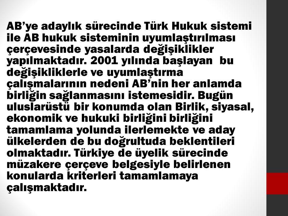 AB'ye adaylık sürecinde Türk Hukuk sistemi ile AB hukuk sisteminin uyumlaştırılması çerçevesinde yasalarda değişiklikler yapılmaktadır.