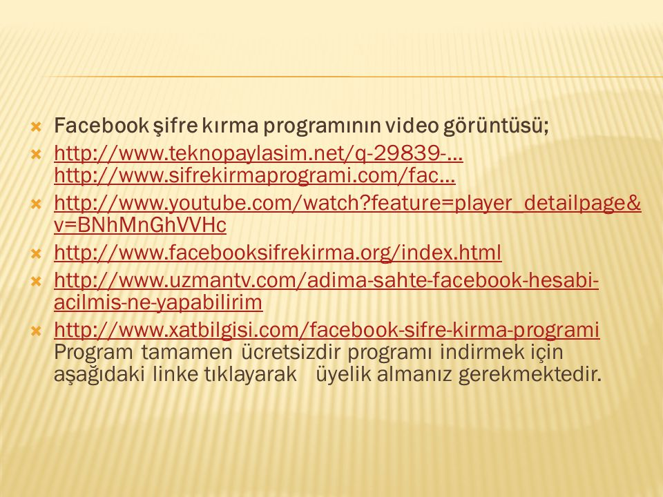 Facebook şifre kırma programının video görüntüsü;
