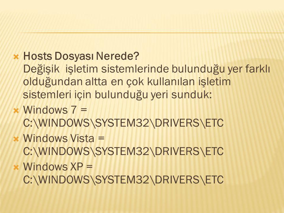 Hosts Dosyası Nerede Değişik işletim sistemlerinde bulunduğu yer farklı olduğundan altta en çok kullanılan işletim sistemleri için bulunduğu yeri sunduk:
