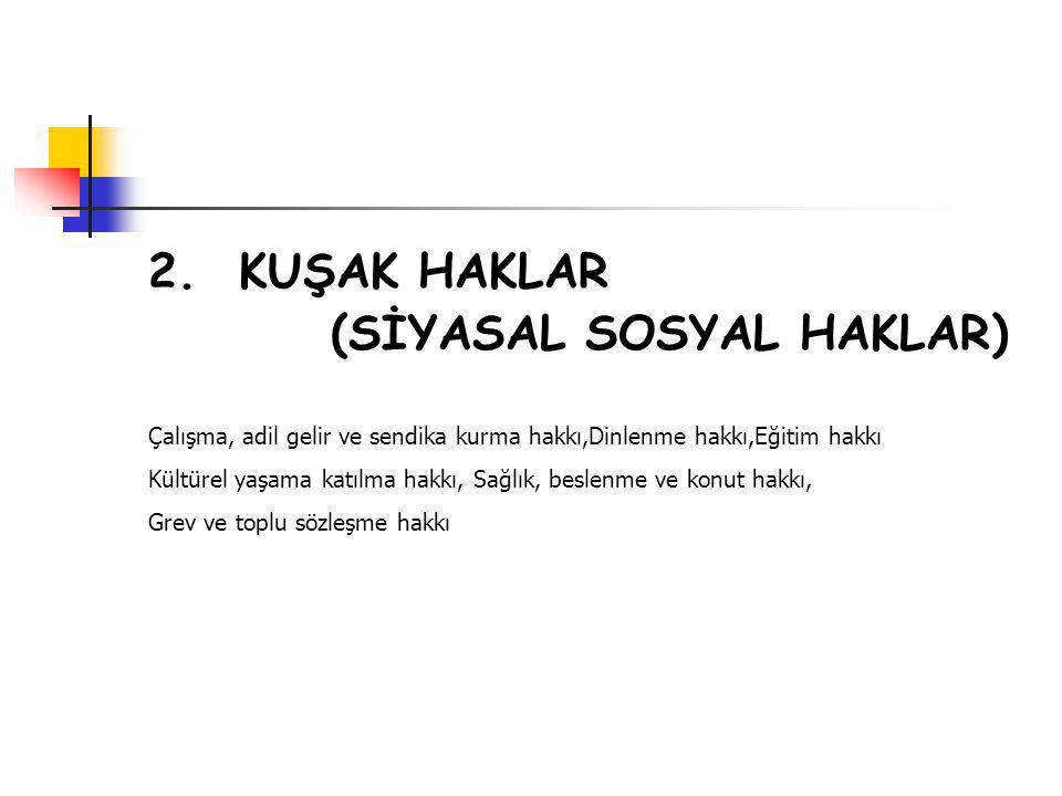 2. KUŞAK HAKLAR (SİYASAL SOSYAL HAKLAR)