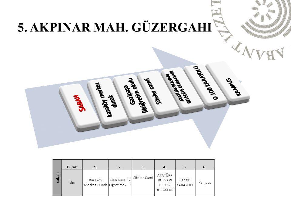5. AKPINAR MAH. GÜZERGAHI Sabah karaköy merkez durak