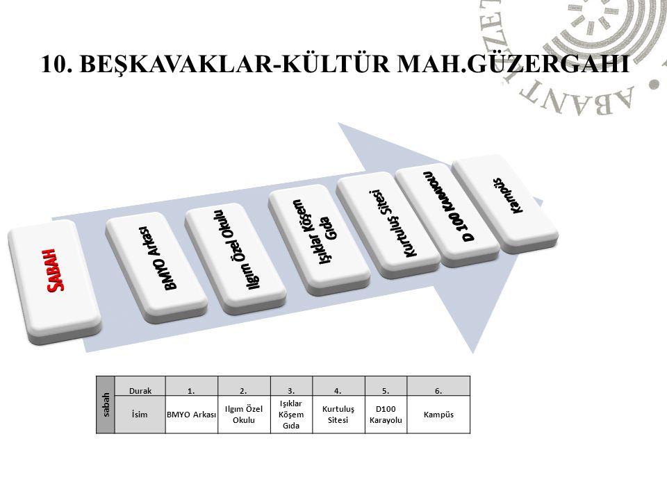 10. BEŞKAVAKLAR-KÜLTÜR MAH.güzergahI