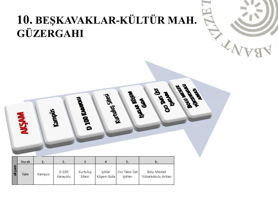 10. BEŞKAVAKLAR-KÜLTÜR MAH. GÜZERGAHI