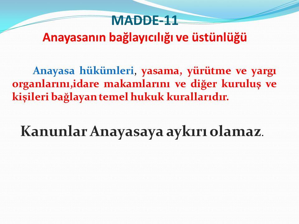 MADDE-11 Anayasanın bağlayıcılığı ve üstünlüğü