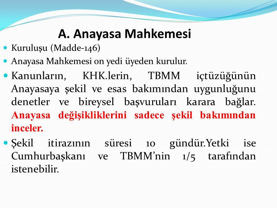 A. Anayasa Mahkemesi Kuruluşu (Madde-146) Anayasa Mahkemesi on yedi üyeden kurulur.