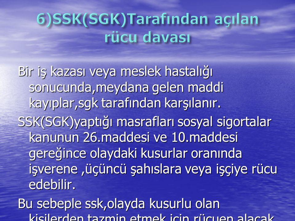 6)SSK(SGK)Tarafından açılan rücu davası