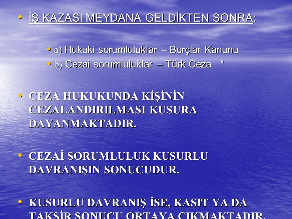 İŞ KAZASI MEYDANA GELDİKTEN SONRA: