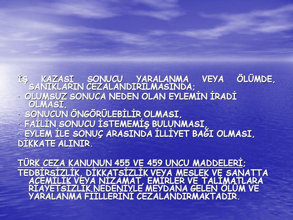 İŞ KAZASI SONUCU YARALANMA VEYA ÖLÜMDE, SANIKLARIN CEZALANDIRILMASINDA;