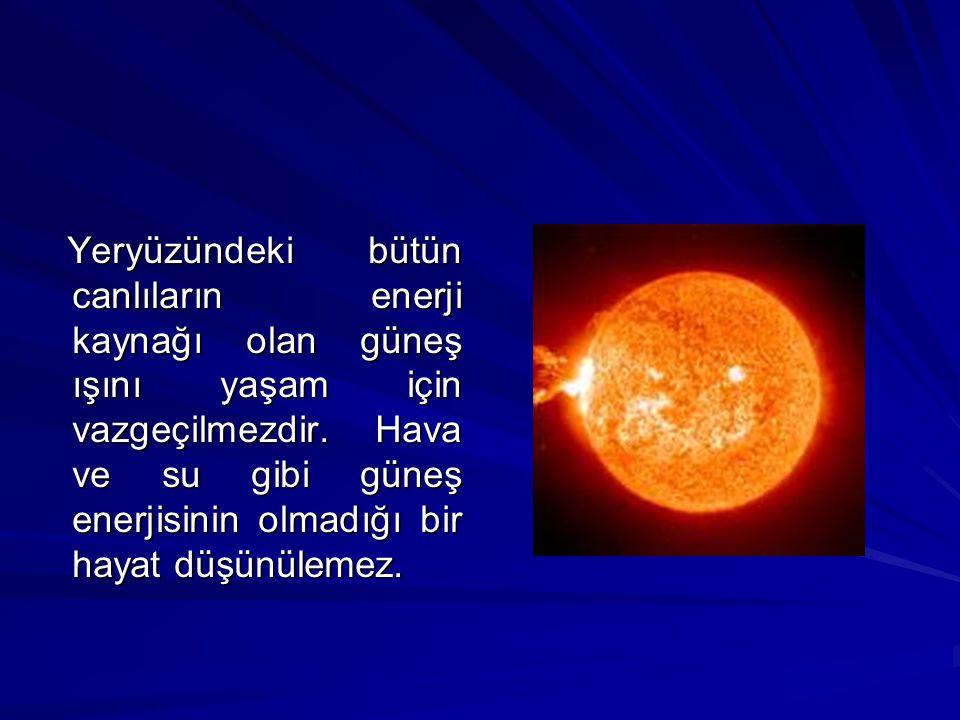 Yeryüzündeki bütün canlıların enerji kaynağı olan güneş ışını yaşam için vazgeçilmezdir.
