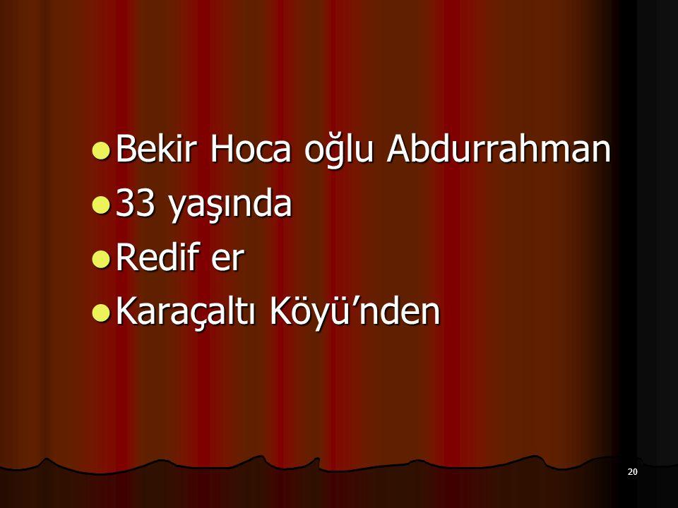 Bekir Hoca oğlu Abdurrahman