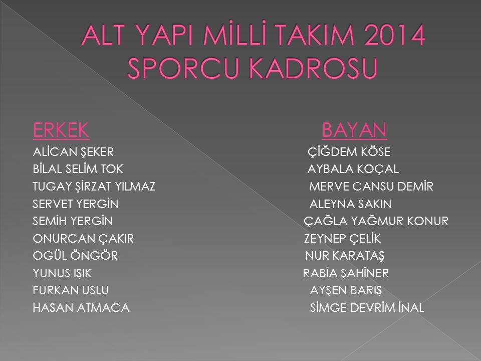 ALT YAPI MİLLİ TAKIM 2014 SPORCU KADROSU