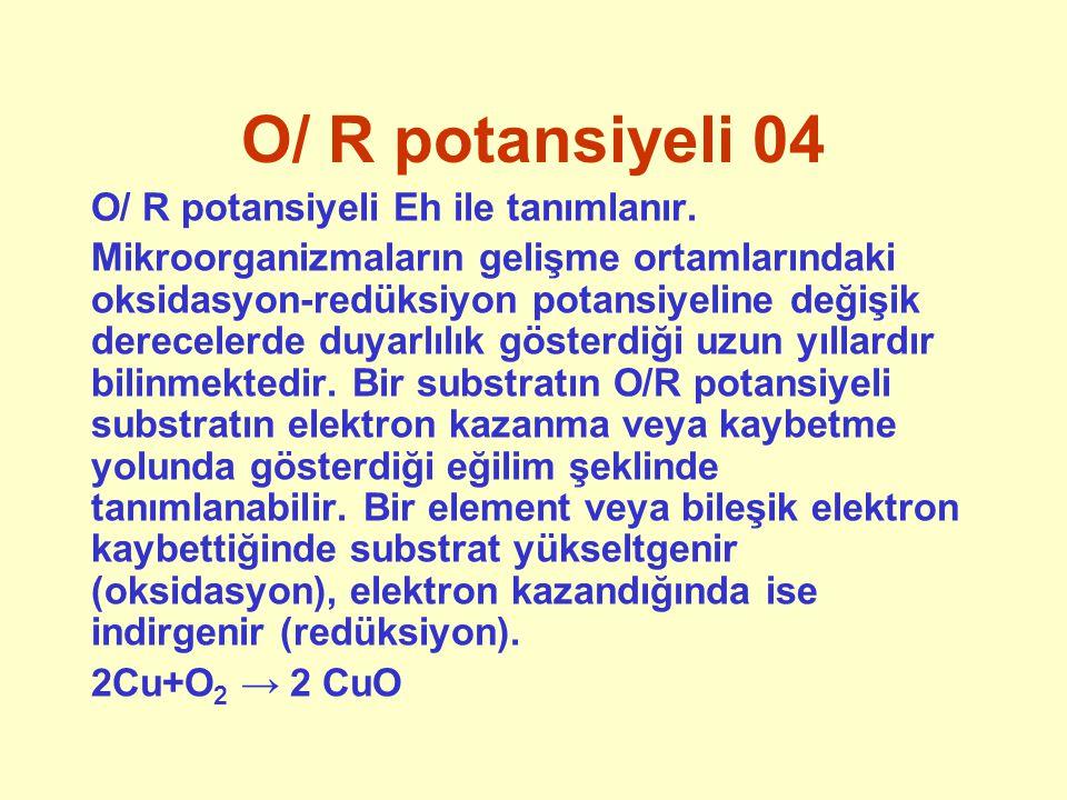 O/ R potansiyeli 04 O/ R potansiyeli Eh ile tanımlanır.