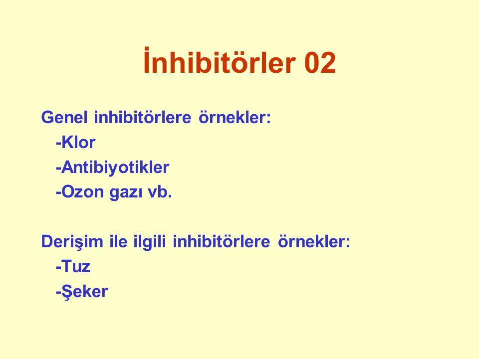 İnhibitörler 02 Genel inhibitörlere örnekler: -Klor -Antibiyotikler