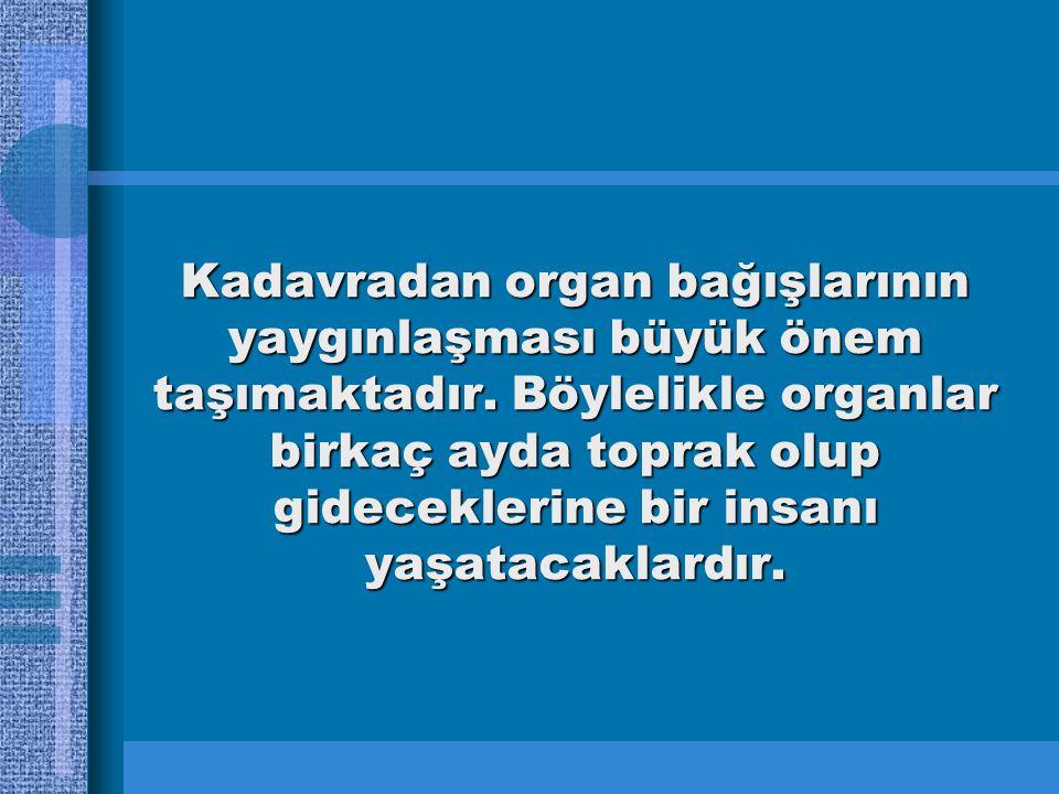 Kadavradan organ bağışlarının yaygınlaşması büyük önem taşımaktadır