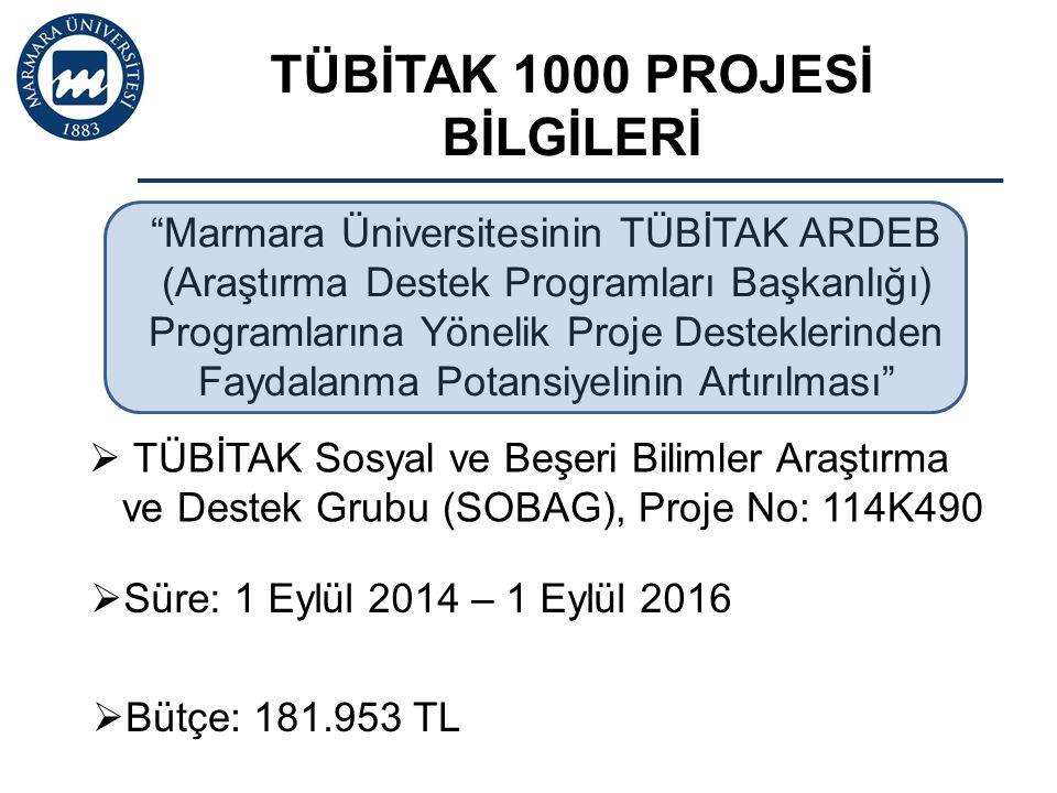 TÜBİTAK 1000 PROJESİ BİLGİLERİ