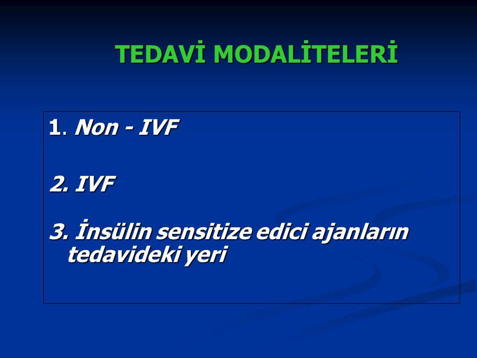 TEDAVİ MODALİTELERİ 1. Non - IVF 2. IVF