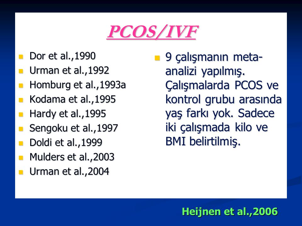 PCOS/IVF Dor et al.,1990. Urman et al.,1992. Homburg et al.,1993a. Kodama et al.,1995. Hardy et al.,1995.