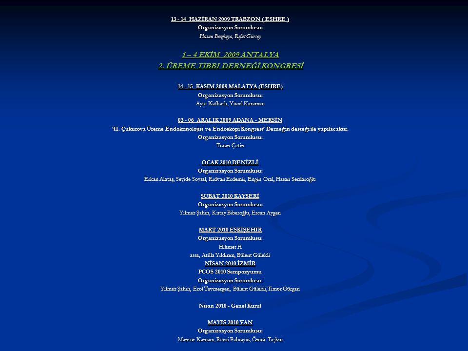 1 – 4 EKİM 2009 ANTALYA 2. ÜREME TIBBI DERNEĞİ KONGRESİ