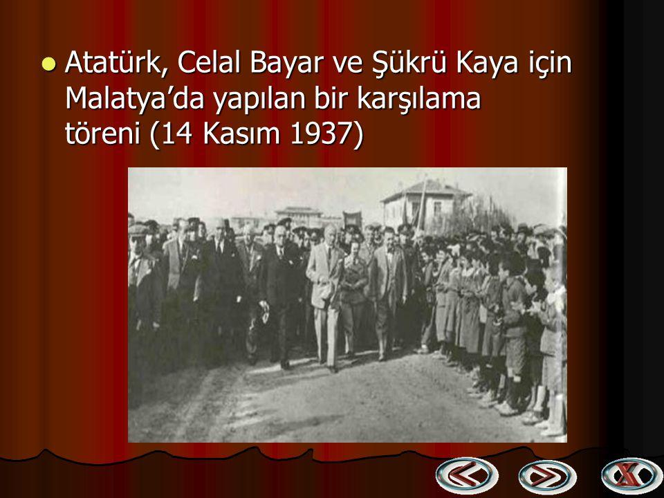 Atatürk, Celal Bayar ve Şükrü Kaya için Malatya'da yapılan bir karşılama töreni (14 Kasım 1937)