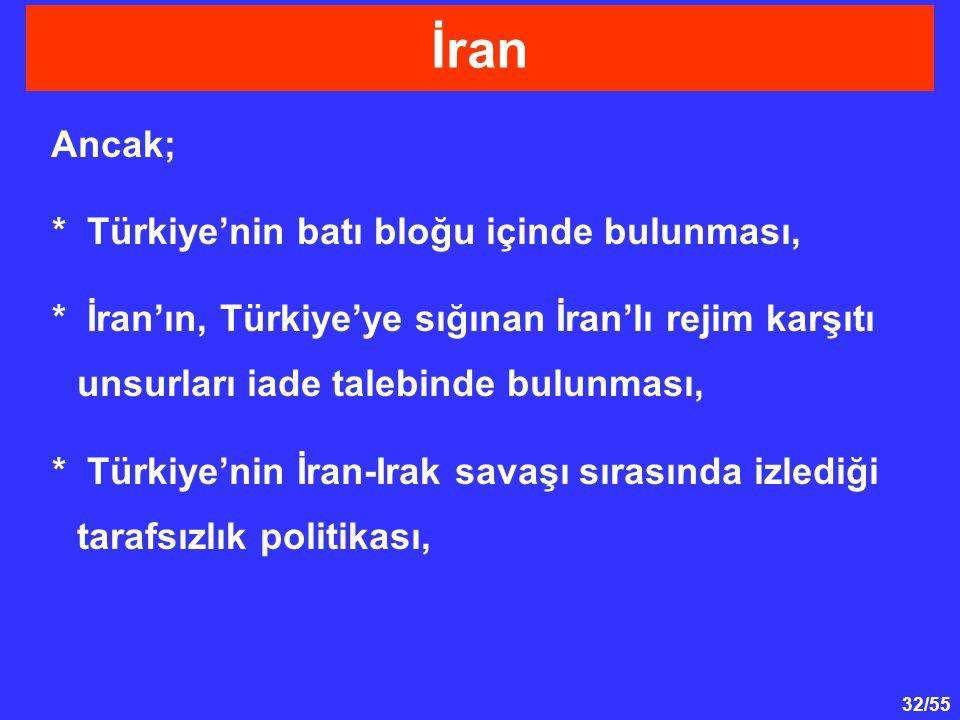 İran Ancak; * Türkiye'nin batı bloğu içinde bulunması,