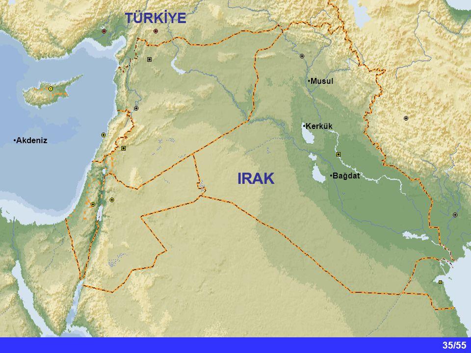 IRAK TÜRKİYE Akdeniz Musul Kerkük Bağdat