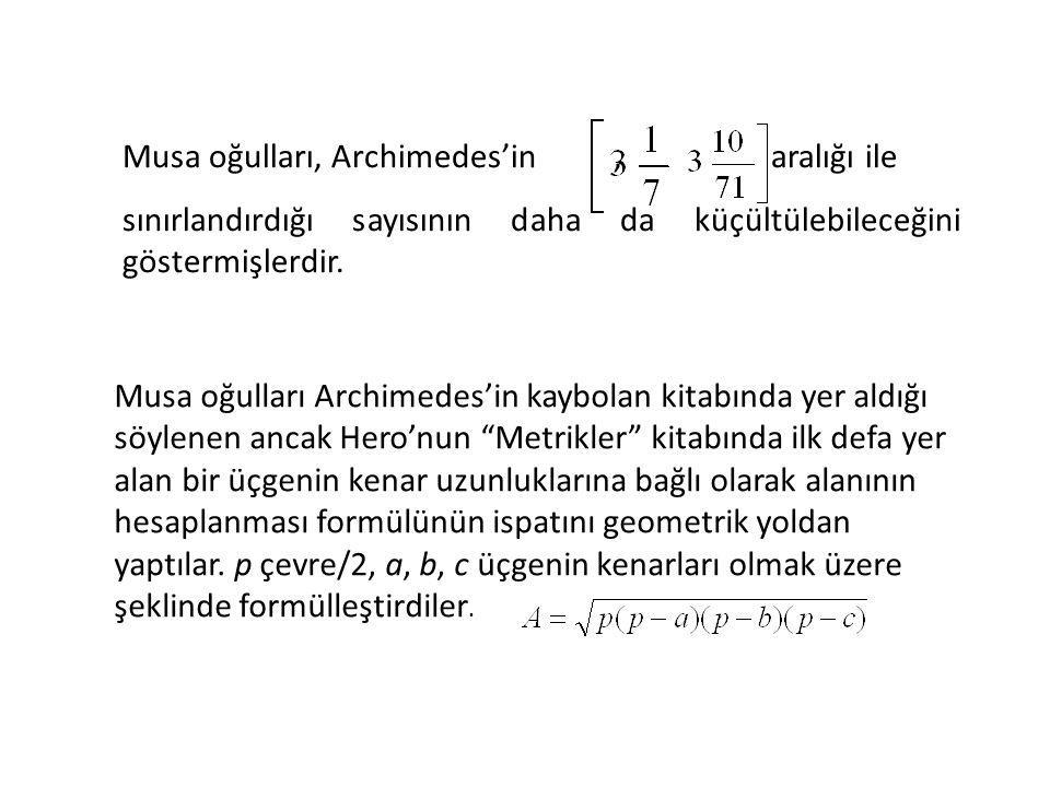 Musa oğulları, Archimedes'in , aralığı ile