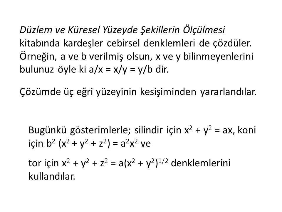 Düzlem ve Küresel Yüzeyde Şekillerin Ölçülmesi kitabında kardeşler cebirsel denklemleri de çözdüler. Örneğin, a ve b verilmiş olsun, x ve y bilinmeyenlerini bulunuz öyle ki a/x = x/y = y/b dir.
