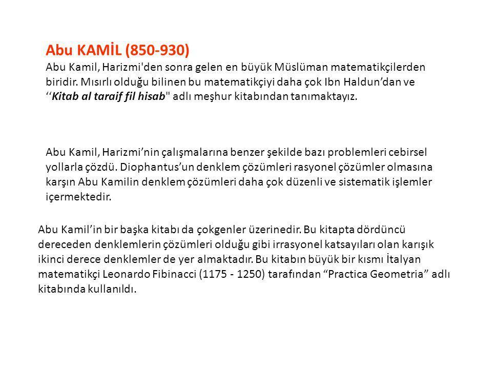 Abu KAMİL (850-930)