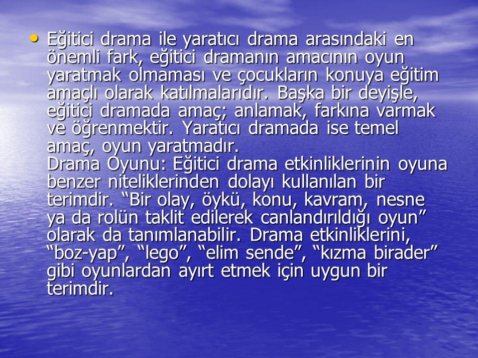 Eğitici drama ile yaratıcı drama arasındaki en önemli fark, eğitici dramanın amacının oyun yaratmak olmaması ve çocukların konuya eğitim amaçlı olarak katılmalarıdır.