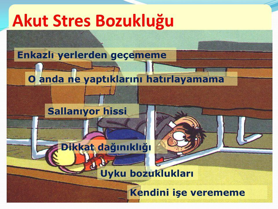 Akut Stres Bozukluğu Enkazlı yerlerden geçememe
