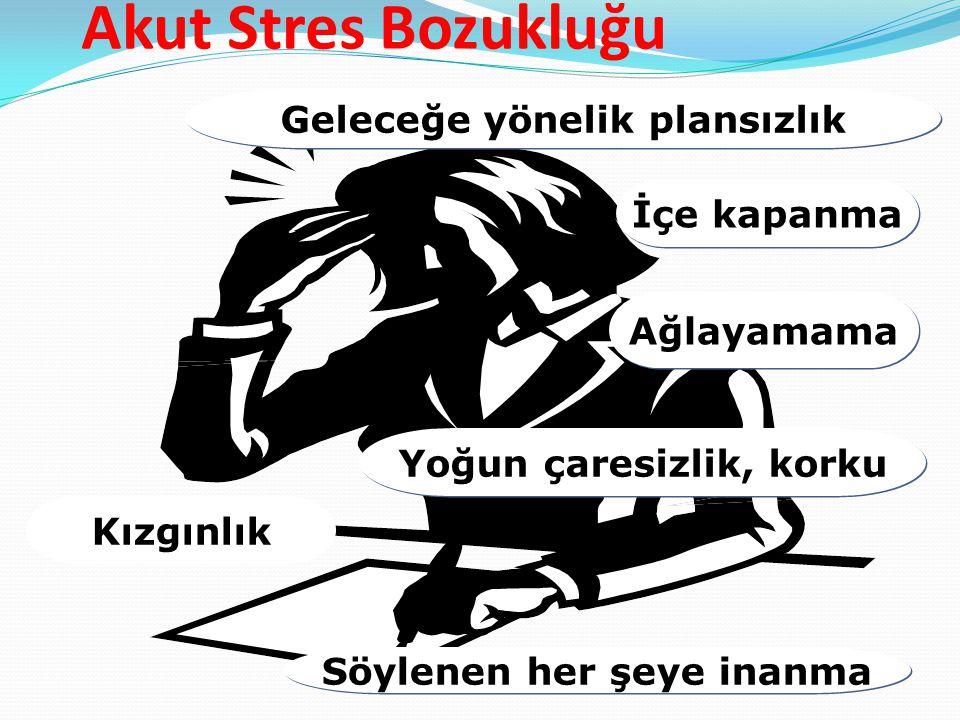 Akut Stres Bozukluğu Geleceğe yönelik plansızlık İçe kapanma