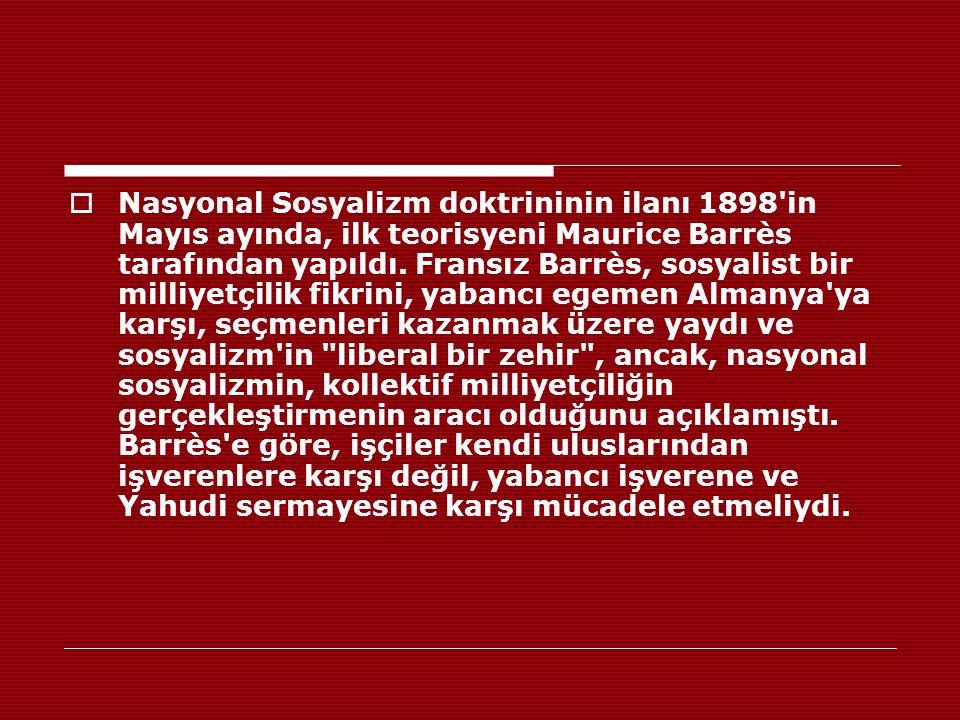 Nasyonal Sosyalizm doktrininin ilanı 1898 in Mayıs ayında, ilk teorisyeni Maurice Barrès tarafından yapıldı.