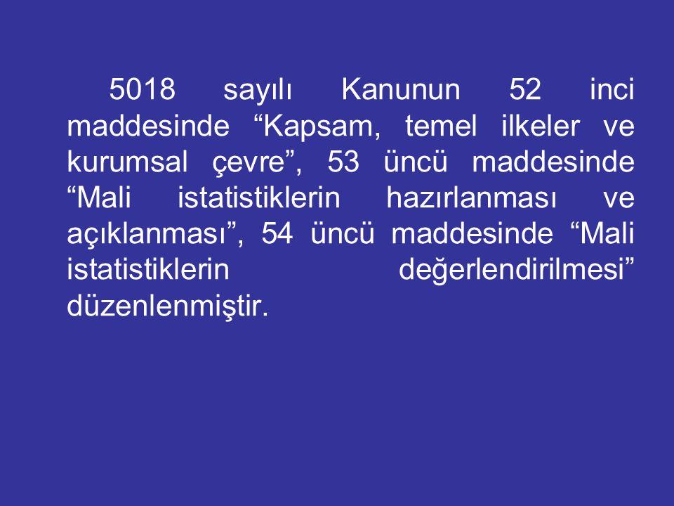 5018 sayılı Kanunun 52 inci maddesinde Kapsam, temel ilkeler ve kurumsal çevre , 53 üncü maddesinde Mali istatistiklerin hazırlanması ve açıklanması , 54 üncü maddesinde Mali istatistiklerin değerlendirilmesi düzenlenmiştir.